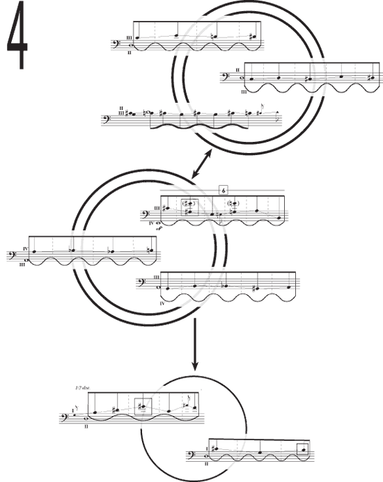 excerpts from 7th Sense for solo bass with electronics, 2005